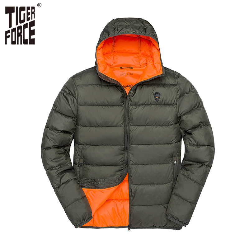 TIGER FORCE 2018 New Puffer Jacket Men Fashion Casual Hooded Coat Padded Cotton Winter Coat Men's   Parka   Warm Cuffs Outerwear