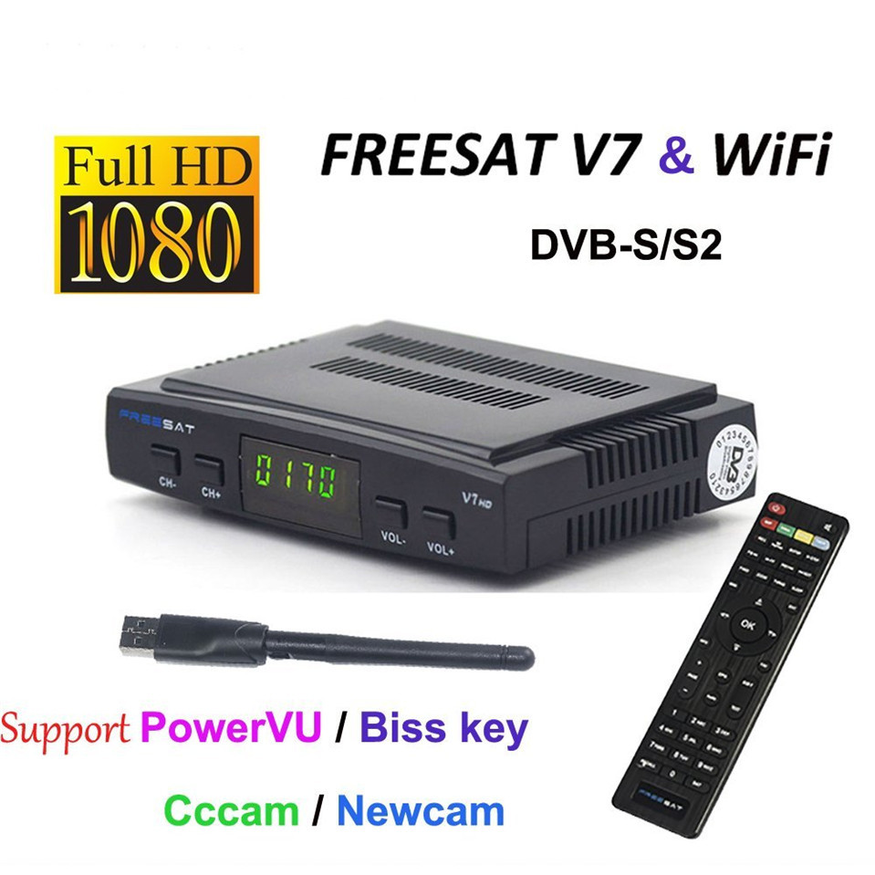Genuine Freesat V7 HD Satellite Receiver Full 1080P 1PC USB WiFi DVB S2 HD Support