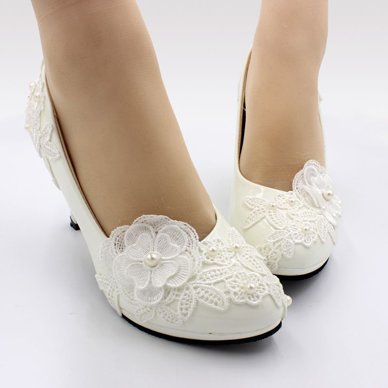 Elegant Handmade Lace Flower Wedding Shoes White For Bride
