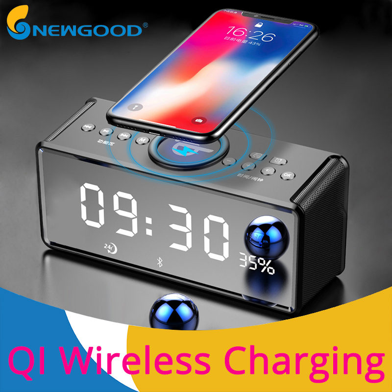 Alarm Clock QI Wireless Charging Bluetooth Speaker Wireless Speaker for Phones BT Portable Speakers with Microphone Loudspeaker