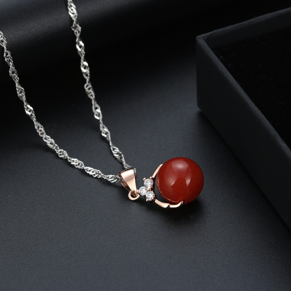 ORSA JEWELS Mode 925 Sterling Silver Pendant Kalung dengan Batu Alam - Perhiasan fashion - Foto 5