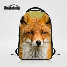 Dispalang животных фокс печати ноутбук рюкзак женщины школьные сумки для подростков мужские большие рюкзаки случайные путешествия плечо сумки