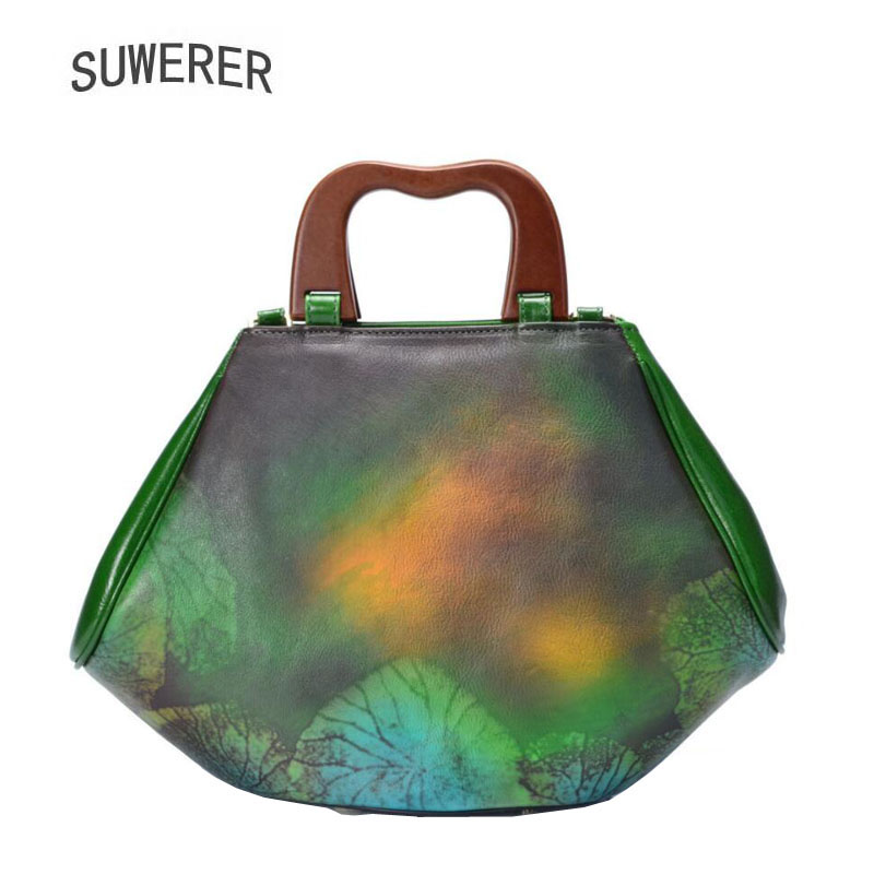 SUWERER 2018 New women Genuine leather handbags Superior cowhide printing bags women Genuine Leather bag Women famous brand SUWERER 2018 New women Genuine leather handbags Superior cowhide printing bags women Genuine Leather bag Women famous brand
