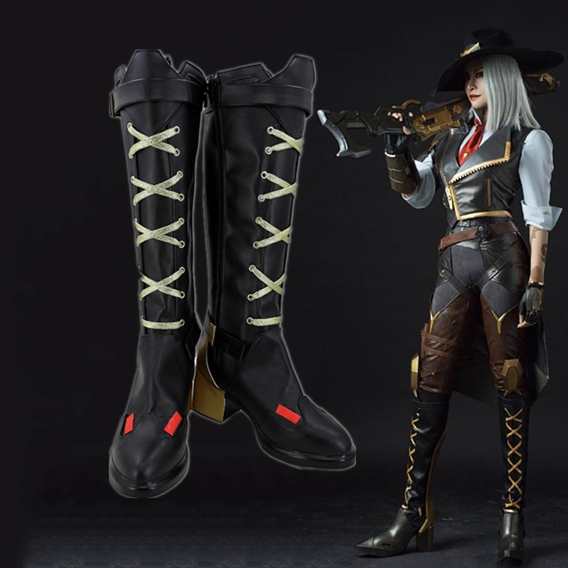 Hot Game OW Ashe Cosplay Party Shoes Custom Made
