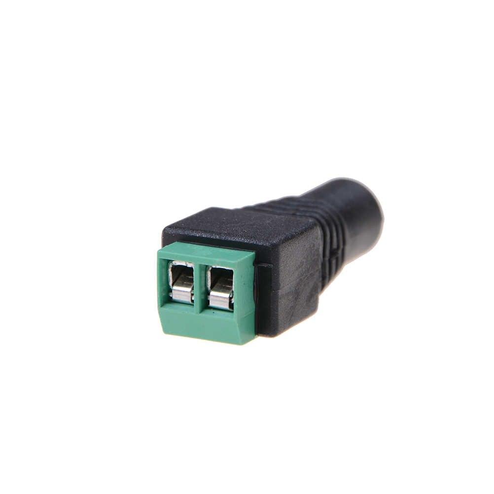 Jeden lub 5 szt. 5.5mm X 2.1mm żeński męski adapter wtyczki zasilającej jednokolorowa taśma led i kamery cctv