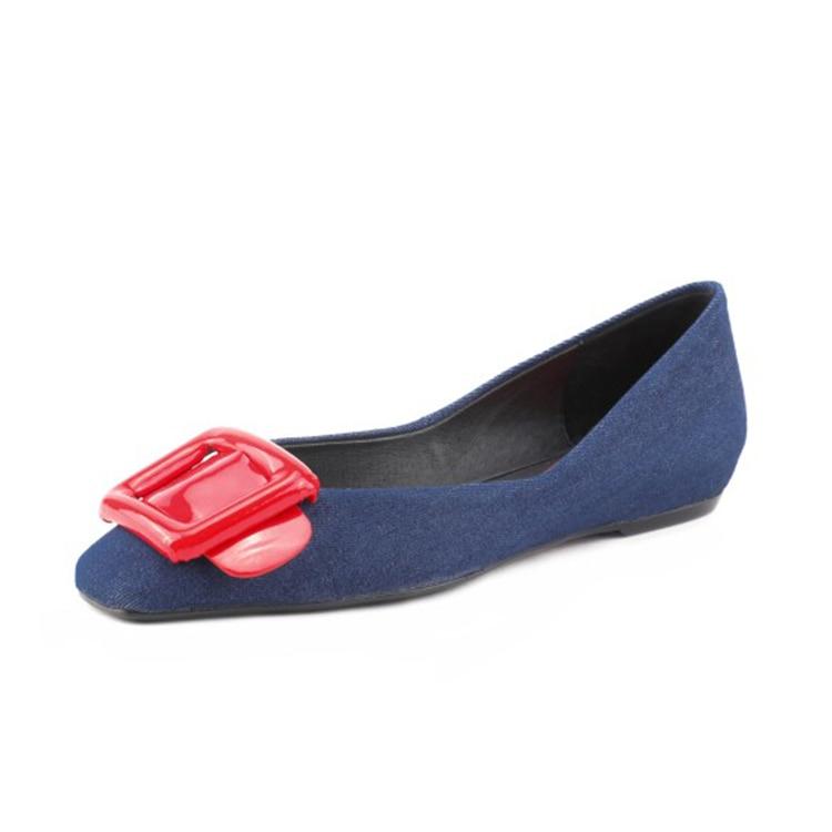 Femmes En Denim Robe Décoration Métal Doux Appartements blue Casual Automne Mariage Chaussures Printemps 2019 Black Bleu Mljuese Couleur De Parti 58xSZ