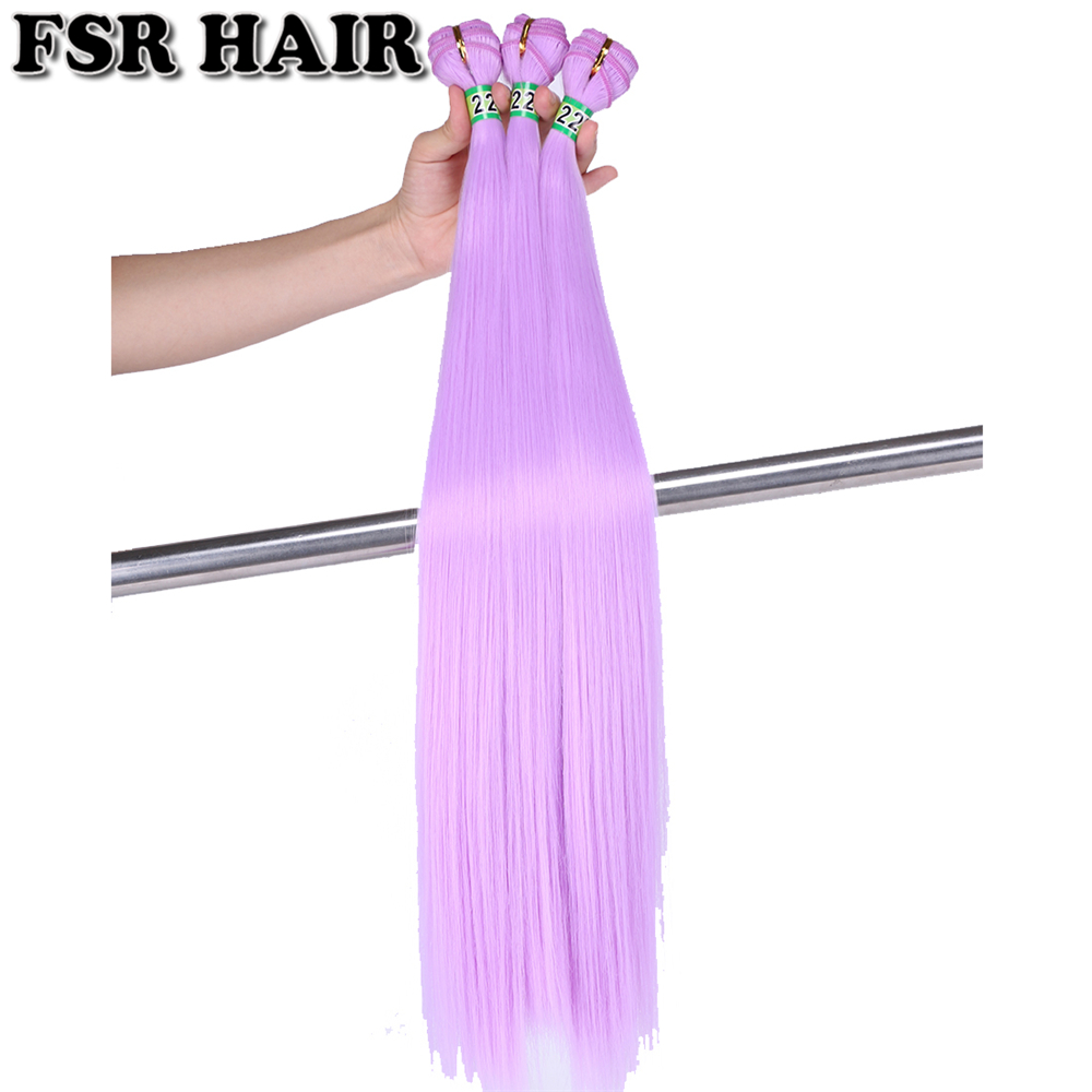 Weft Hair Weave Synthetic-Hair-Extension Soft-Hair Pink Purple Straight 22inch Green