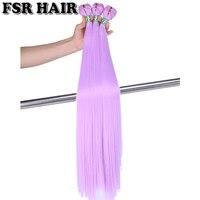 Фиолетовый розовый зеленый мягкие шелковистые прямые волосы утка 22 дюймов 100 г цельнокроеное Tissage волокна волос переплетения Синтетический...