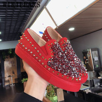 2019 Women's Vulcanize Shoes Rivets Bling Casual Shoes Women Platform Sneakers Suede Fashion Sneakers Tenis Feminino Zapatillas