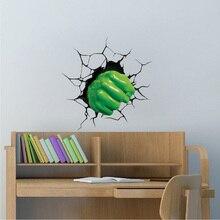 3D The Hulk Wall Sticker Super Hero cartoon people  Decal Home Decor vinyl sticker for Kids nursery Room decoration