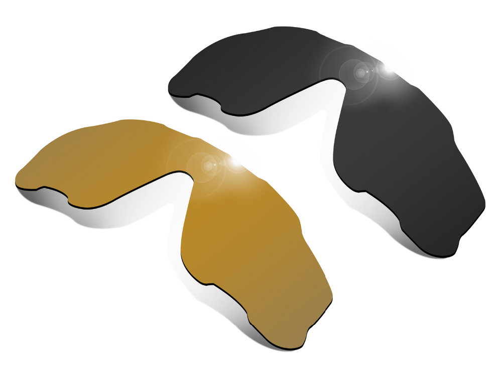 Glintbay 2 Pieces Polarized Sunglasses Replacement Lenses for Oakley Jawbreaker Stealth Black and Bronze Gold