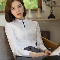 Patchwork Vrouwen Office Shirt Wit Slim Fit Top Lange Mouwen Chiffon Vest Blouse Moda Feminina Womens Werk Blouses P7C1329
