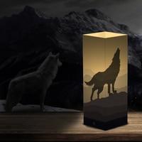 Creative wolf Shadow night light winter wolf design LED warm white lighting bedroom decor holiday gift club souvenir