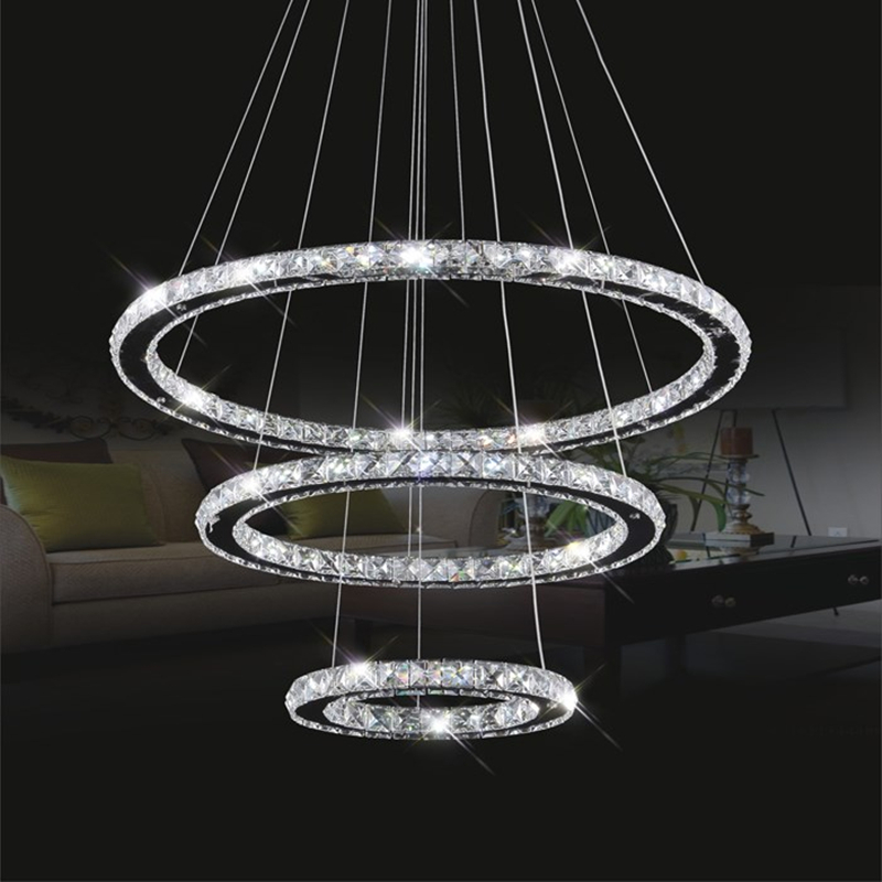 Modern Led Crystal Ring Chandelier Lighting Remote Control 2/3 Rings Crystal Light Fixture Circles Lamp lustre suspension
