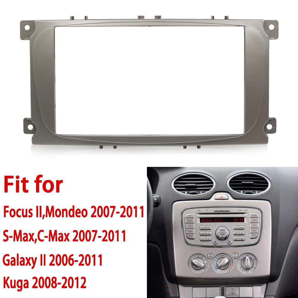 2 din car radio frame For Ford Focus II C-Max S-Max Fusion Stereo Panel Dash Mount Double Din Fascia Install Kit Refit Frame все цены