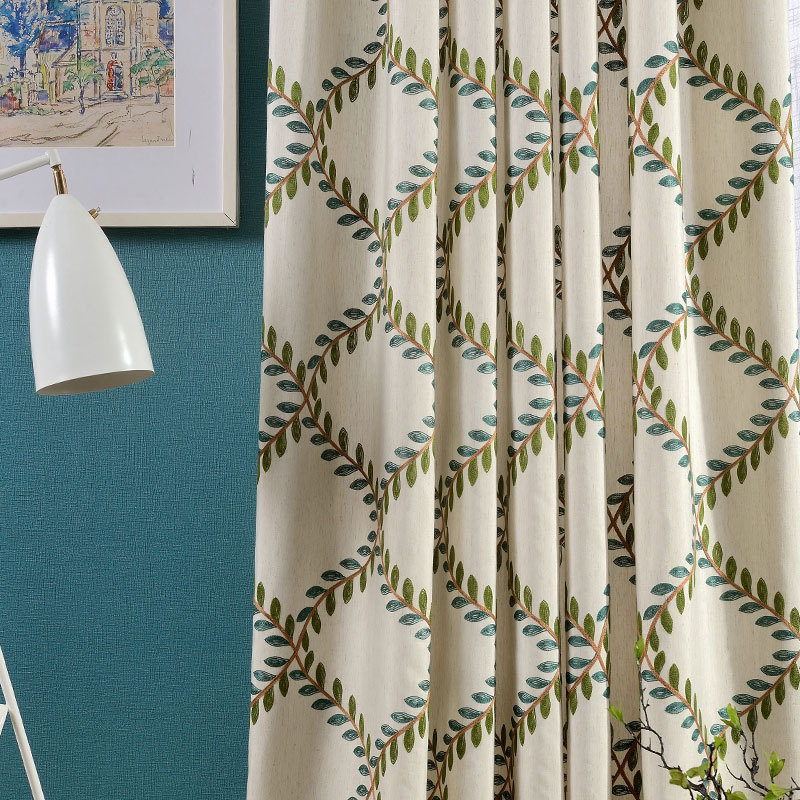 Olive New Cotton Embroidered Curtain Fabric Wholesale