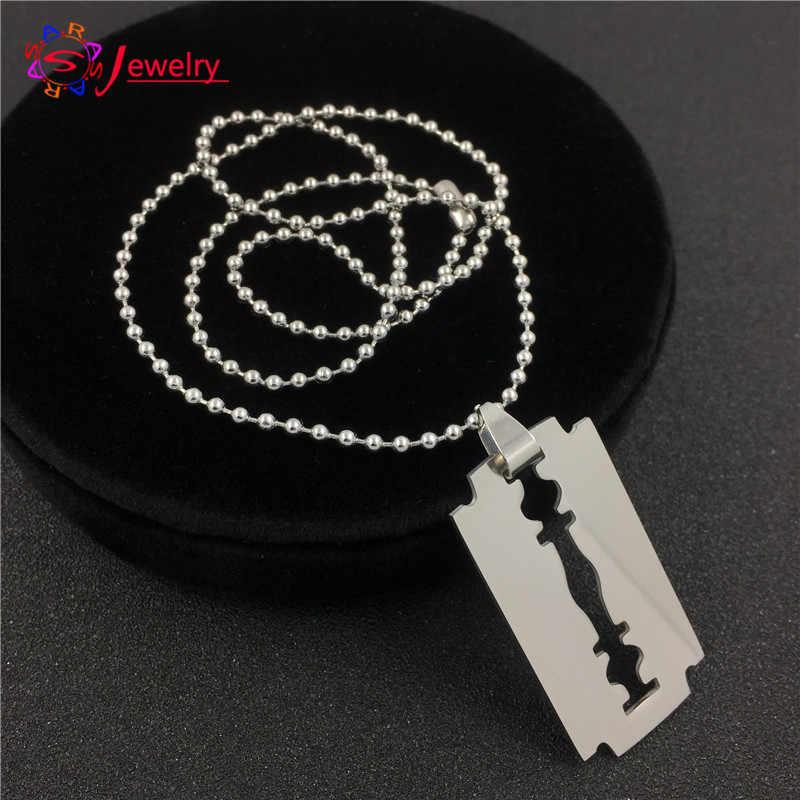 FYSARAFashion Jewelry Slippy Razor Blades Pendant & Necklaces 316L Titanium Steel Silver Boy Men Necklaces Collar Gift