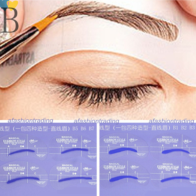 8pcs B Styles Brow Painted Eyebrow Pencil Stencils Model Template Stencil for Eye Eyebrow
