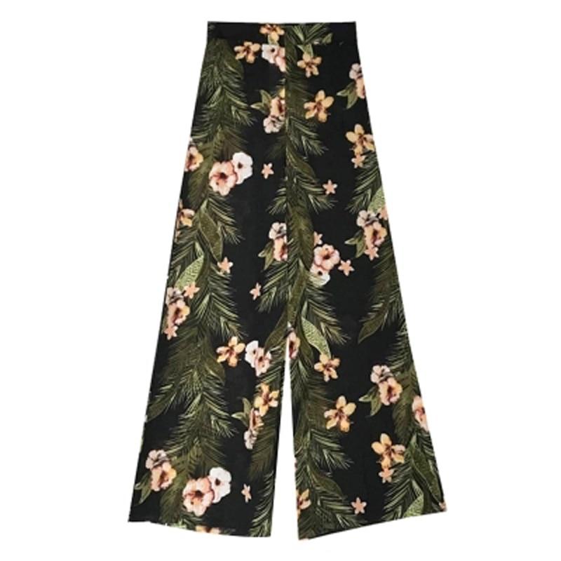 2019 Summer new Print lady Wide Leg Pants Women's Chiffon high waist Zipper trousers Casual Loose Breathable Pants & Capris