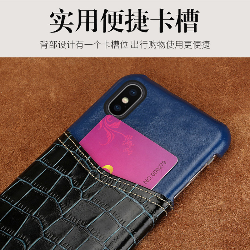 Wangcangli coque de téléphone motif crocodile carte en cuir coque de téléphone pour iphone X coque de téléphone tout à la main traitement personnalisé - 2