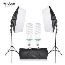 Andoer fotografia estúdio cubo guarda-chuva softbox luz iluminação tenda kit 2*135 w lâmpada 2 * tripé suporte 2 * softbox 1 * saco