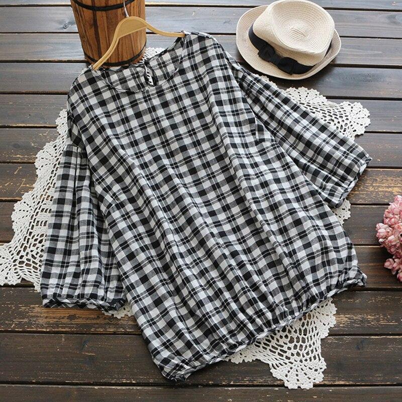 YSMILE Y Women Plaid Shirt Casual O-Neck Three Quarter Sleeve Female Daily Blouse All Purpose Loose Slim Women Clothes Shirts