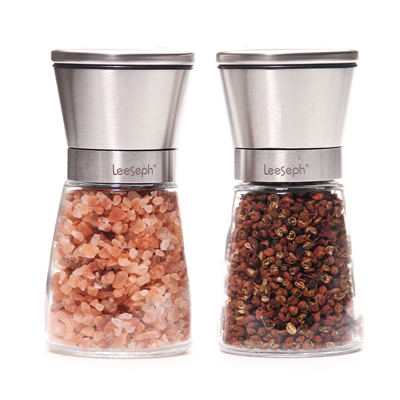 <font><b>Salt</b></font> and Pepper Grinder Set, Slim Brushed Stainless Steel Pepper Mill and <font><b>Salt</b></font> Mill -Adjustable Ceramic Rotor (Set of 2)