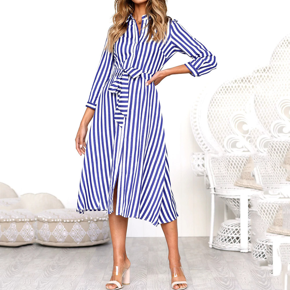 953a28122638a 2018 Summer Boho Casual Long Maxi Dress Women Shirt Dress Sexy Lapel ...