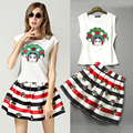 2017 fashion Embroidery  printing skirt or t shirt in a set,lovely cartoon graphic cute skirt girls suit cotton for summer