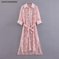 Women Mesh Embroidered Floral Dress Long Sleeve Pink See Through Turn Down Collar A line With Belt Mid Calf Dress XB9327