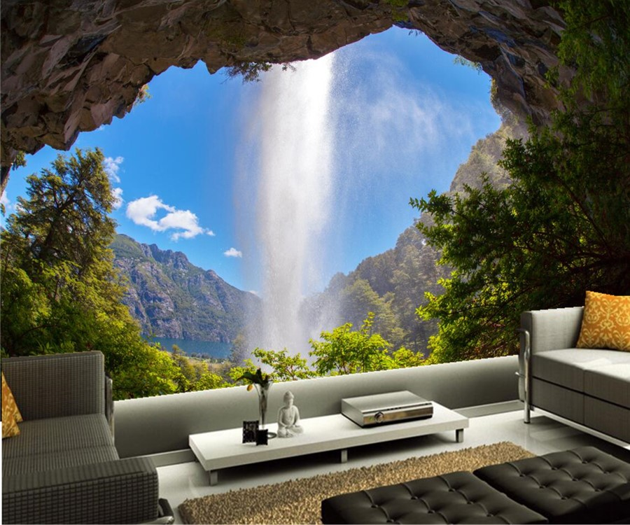 Custom mural wallpaper argentina waterfalls crag nature for 3d nature wallpaper for wall