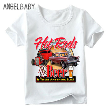 Children Rat Rod School Classic Muscle Car Print T shirt Boys and Girls Summer White Tops Kids Casual T-shirt,HKP789