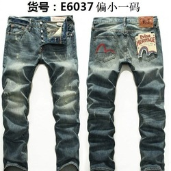 Evisu Breathable Top Quality Trend Fashion Men Pants Warm Jeans Straight Print Leisure printing  Mid Waist Washed Men's Trousers