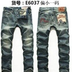 Evisu Traspirante di Alta Qualità di Modo di Tendenza Degli Uomini di Pantaloni Caldi Dei Jeans Dritto stampa Della Metà di Vita di Stampa Per Il Tempo Libero Lavato Pantaloni da Uomo