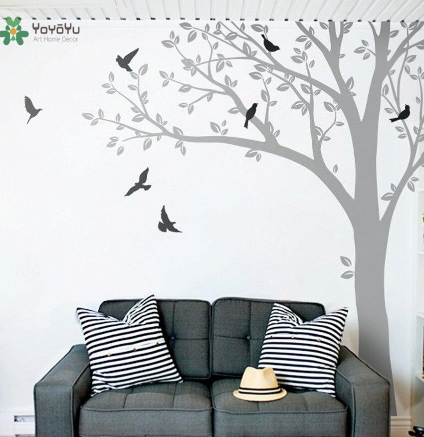 Sticker Mural vinyle autocollant pépinière grand arbre avec oiseaux mur Art décor personnalisé couleur murale enfant chambre salle de jeux affiche WW-342