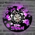 Светодиодный настенные часы Lilo & Stitch  декоративные детские настенные часы для спальни с милым мультяшным виниловым рисунком  Висячие часы  С...