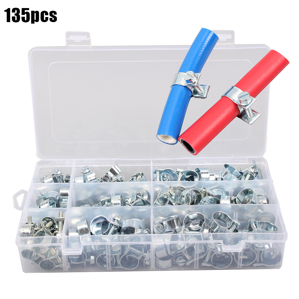 135pcs Mini Tube Pipe Hose Clamp Hoop Clips Metal Durable Portable For Household _WK