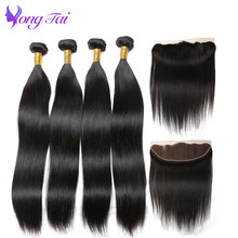 Yuyongtai Hair Ear To Ear Lace Frontal With Bundles Straight Indian Human Hair With Frontal Free Part 4 bundles Non remy Hair(China)