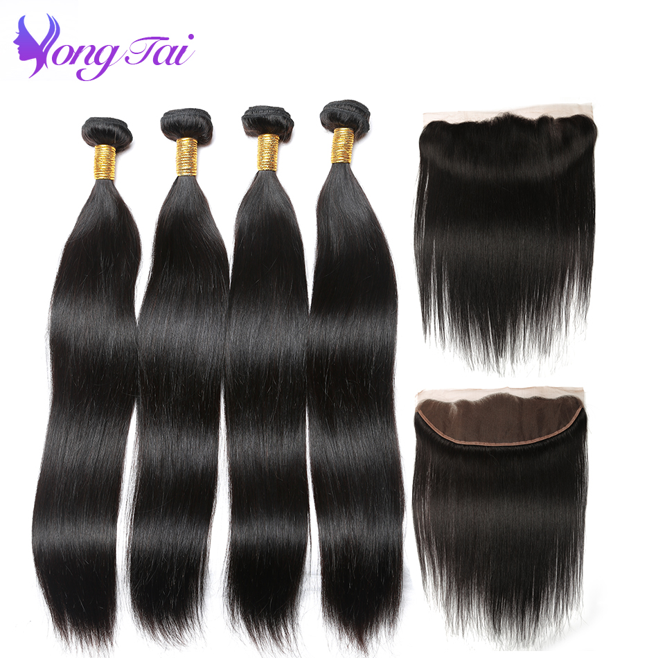 Yuyongtai Hair Ear To Ear Lace Frontal With Bundles Straight Indian Human Hair Bundles With Frontal Closure Free Part 4 bundles