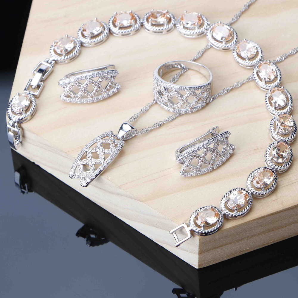 Jewelry-Sets Necklace Bracelet Champagne Cubic-Zircon Silver Women for Crown Ring 3-Option