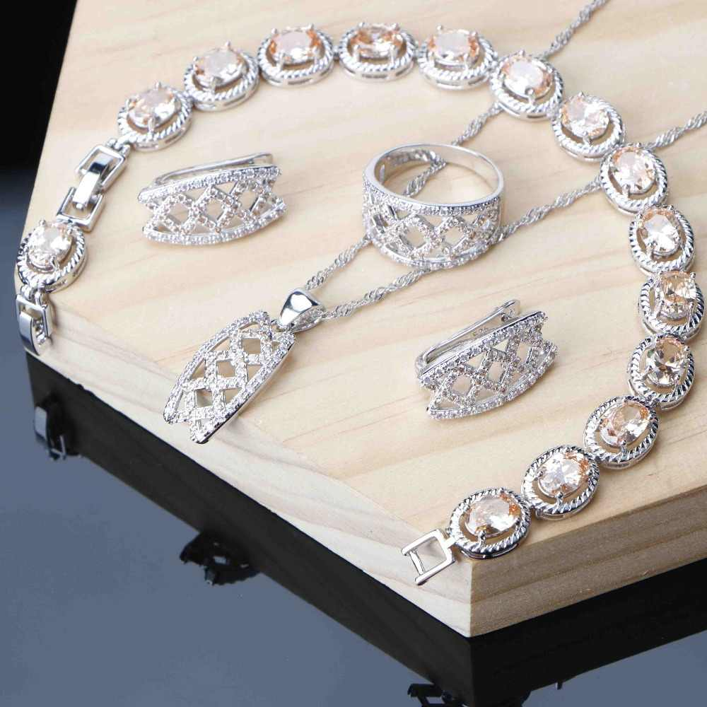 Champagne Cubic Zircon Jewelry Sets For Women Crown Silver 925 Jewelry Earrings Ring Necklace Bracelet 3 Option for U