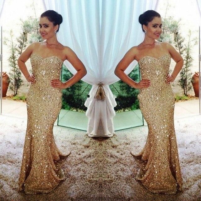 New Arrival Gold Long Prom Dress 2017 Sparkly Mermaid Evening Dresses Shiny Custom Made Vestidos Largos