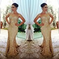 Nova Chegada de Ouro Longo Vestido de Baile 2017 Sereia Brilhante Vestidos de Noite Brilhante Feito Sob Medida Vestidos De Noche Largos