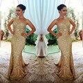 Nuevo Oro de la Llegada de Largo Vestido de Fiesta 2017 Sparkly Sirena Vestidos de Noche Brillante Por Encargo Vestidos Largos De Noche