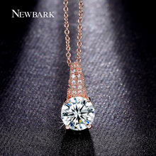 NEWBARK Top Quality Cubic Zirconia Chain Necklaces Pendants Rose Gold Color Big Crystal Stone Wedding Choker