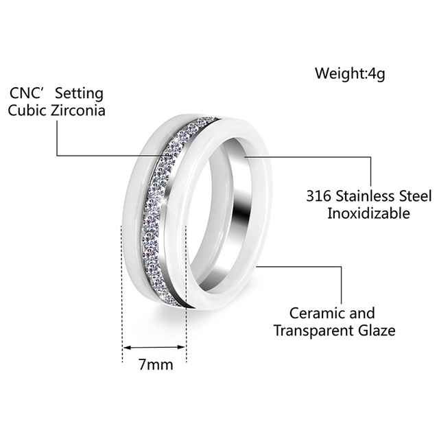 Nuovi Monili di Modo 3 pz/set Trendy Anello Con Semicerchio Bling Perforazione Colore Bianco Regalo Per Le Donne Ragazza Ceramica Sano anelli