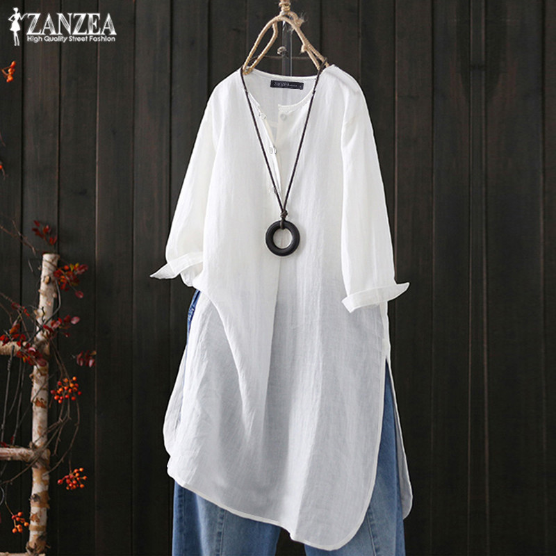 ZANZEA 2019 Summer Casual Long Tops Women's Linen Blouse Vintage Button Tee Shirts Female Solid Work Blusas Woman Tunic Oversize