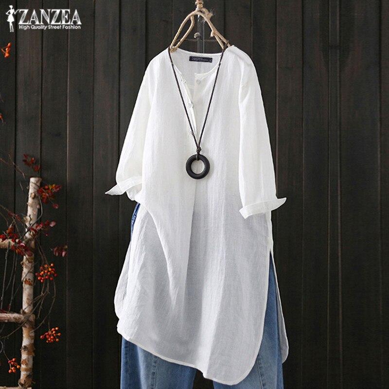 ZANZEA, 2020, летние повседневные Длинные Топы, женская льняная блузка, Винтажная футболка с кнопками, рубашки для женщин, одноцветные блузки для работы, Женская туника, большие размеры|Блузки и рубашки|   | АлиЭкспресс