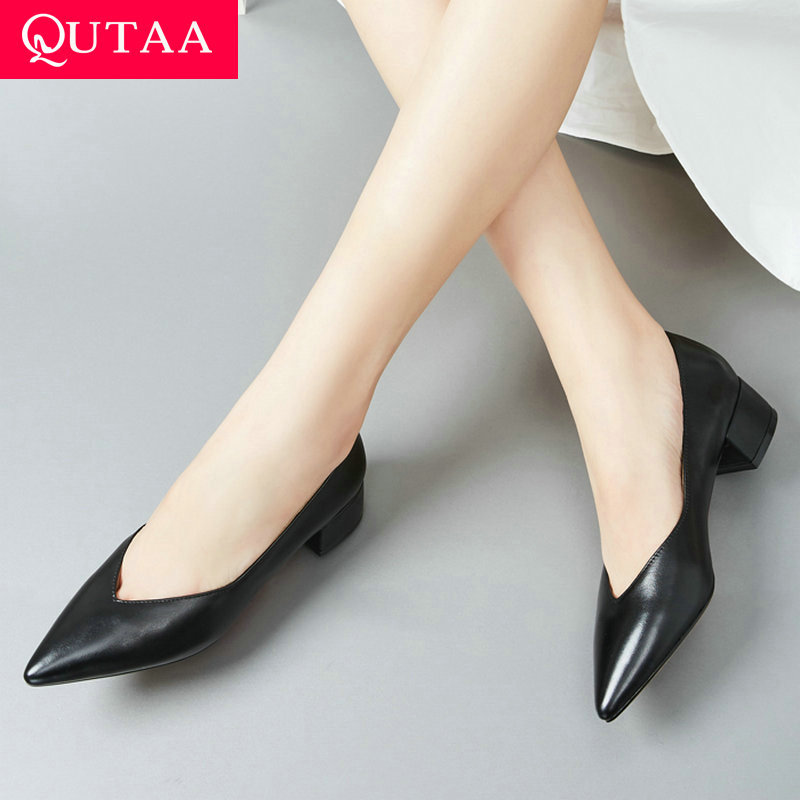 QUTAA 2020 Women Pumps Cow Leather pu Square High Heel Pointed Toe All Match Ol Style