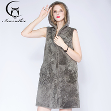 ФОТО newowlbie  latest winter sheep sheared leather with fur vest hooded young lady  natural fur fashion medium style thickened vest